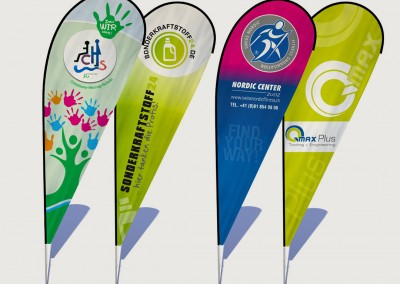Gestaltete Beachflags für In- und Outdoor